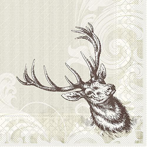 Sovie HORECA Serviette Wild | Tissue Deluxe® 4-lagig | 40x40 cm 50 Stück | Hirsch mit Geweih | Feier Restaurant