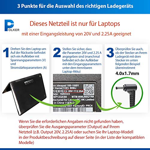 Netzteil Laptop Lenovo 20v 45w 2.25a | Ladekabel Notebook Lenovo 45 Watt 2.25 a | Netzstecker Lenova Ideapad Chromebook Flex Yoga