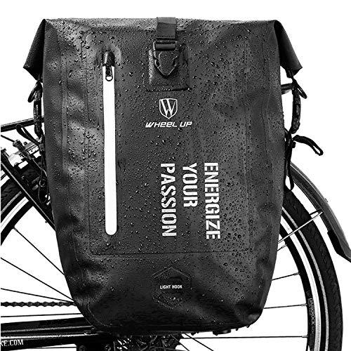 HIKENTURE Fahrradtasche für Gepäckträger, Gepäckträgertasche Fahrrad 27L, Radtasche Rucksack Wasserdicht, Hinterradtasche, Ideales Fahrrad Zubehör fürs Fahrrad-Schwarz2