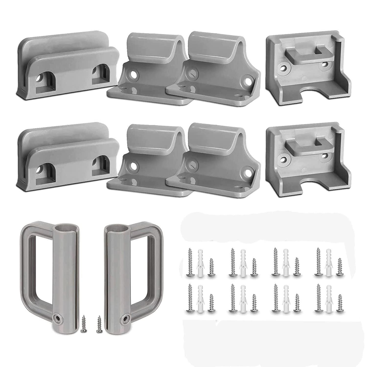 GRENFU Retractable Baby Gate Replacement Parts Kit Grey Pet Gate Full Set Wall Mounting Hardware with Brackets Anchors and Screws