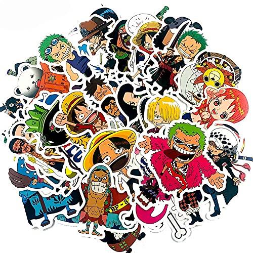 AXHZL Pegatina de una Pieza de Dibujos Animados clásicos japoneses para Maleta, Nevera, Scooter, Motocicleta, Diario, Pegatina de Juguete para niños, 45 Uds.