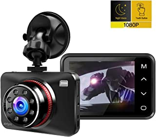 Dash Cam, Ainhyzic 1080P Dash Camera for Cars, 2.7 Touch Button Screen Car Driving Recorder with 170° Wide Angle and Infrared Night Vision, Motion Detection, G Sensor, Loop Recording, Parking Monitor,
