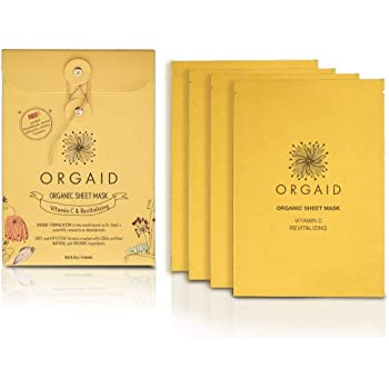 ORGAID Organic Sheet Mask | Made in USA (Vitamin C & Revitalizing, pack of 4)