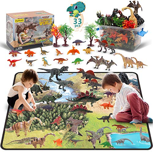 DigHealth 33 Pcs Dinosaur Toy Playset with Activity Play Mat, Realistic Dinosaur Figures, Trees, Rockery to Create a Dino World Including T-Rex, Triceratops, Pterosauria for Kids, Boys & Girls