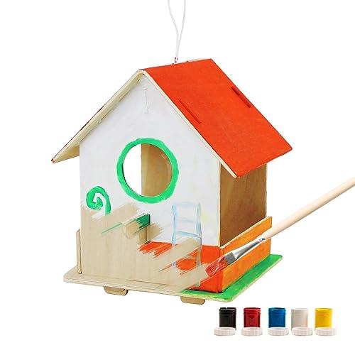 Robotime 3D Puzzle en Bois - Maison d'oiseaux avec des Outils de Peinture Enfant Pédagogique Woodcraft Puzzle Toy DIY Kit