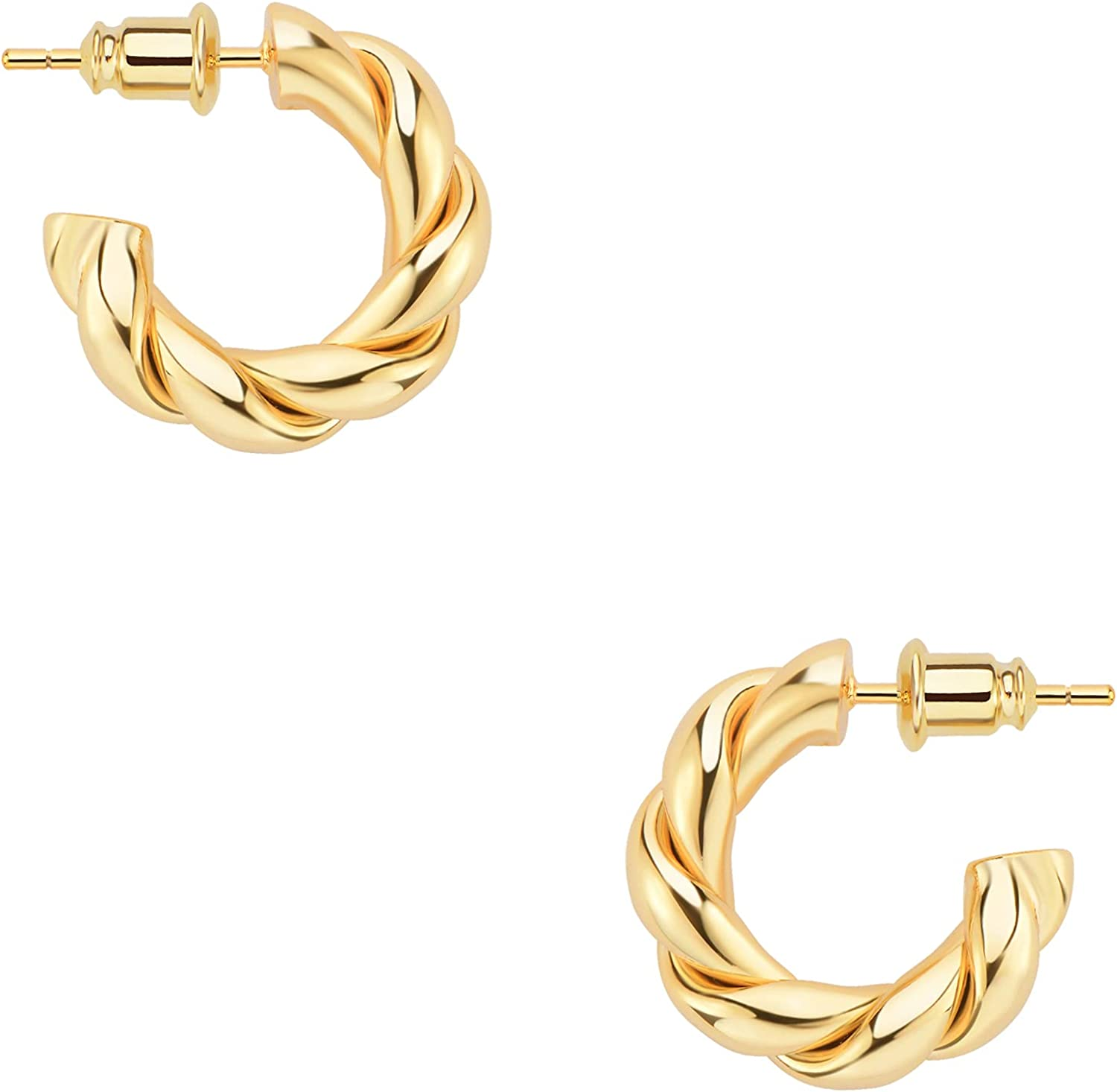 Wowshow Gold Hoop Earrings 14k Gold Plated Twisted Rope Round Ch
