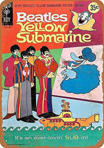 Hunnry Beatles Yellow Submarine Comic Poster Póster De Pared Metal Vintage Placa Cartel Decorativas Estaño Signo Vendimia Plaque por Bar Café Hogar Restaurante Dormitorio