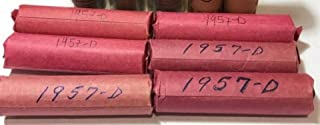 1957 D Lincoln Wheat Cent Roll (50 Coins) Brilliant Uncirculated