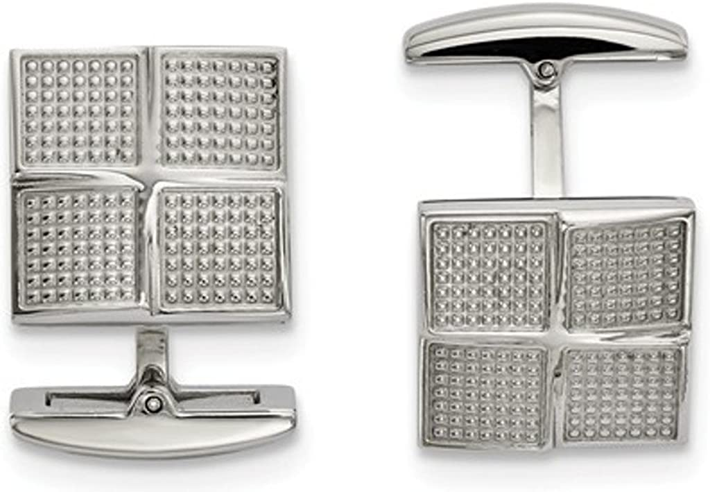 Stainless Steel Block Textured Square Cuff Links, 22.57X17.08MM
