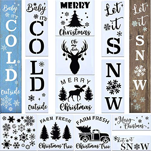 13PCS Reusable Christmas Stencil Welcome Let It Snow Stencil for Painting on Wood,Baby It's Cold Outside Reusable Porch Sign Merry Christmas Stencil for Creating Painting Beautiful Wood (Style 1)