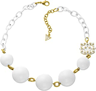 Guess UFN30811 Two-Tone Stainless Steel Beaded Large Link Chain Necklace for Women - Gold