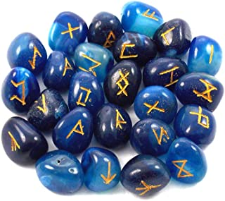 Runes Blue Agate Rune Stones Set Crystal Runes Viking Elder Futhark Runic Alphabets