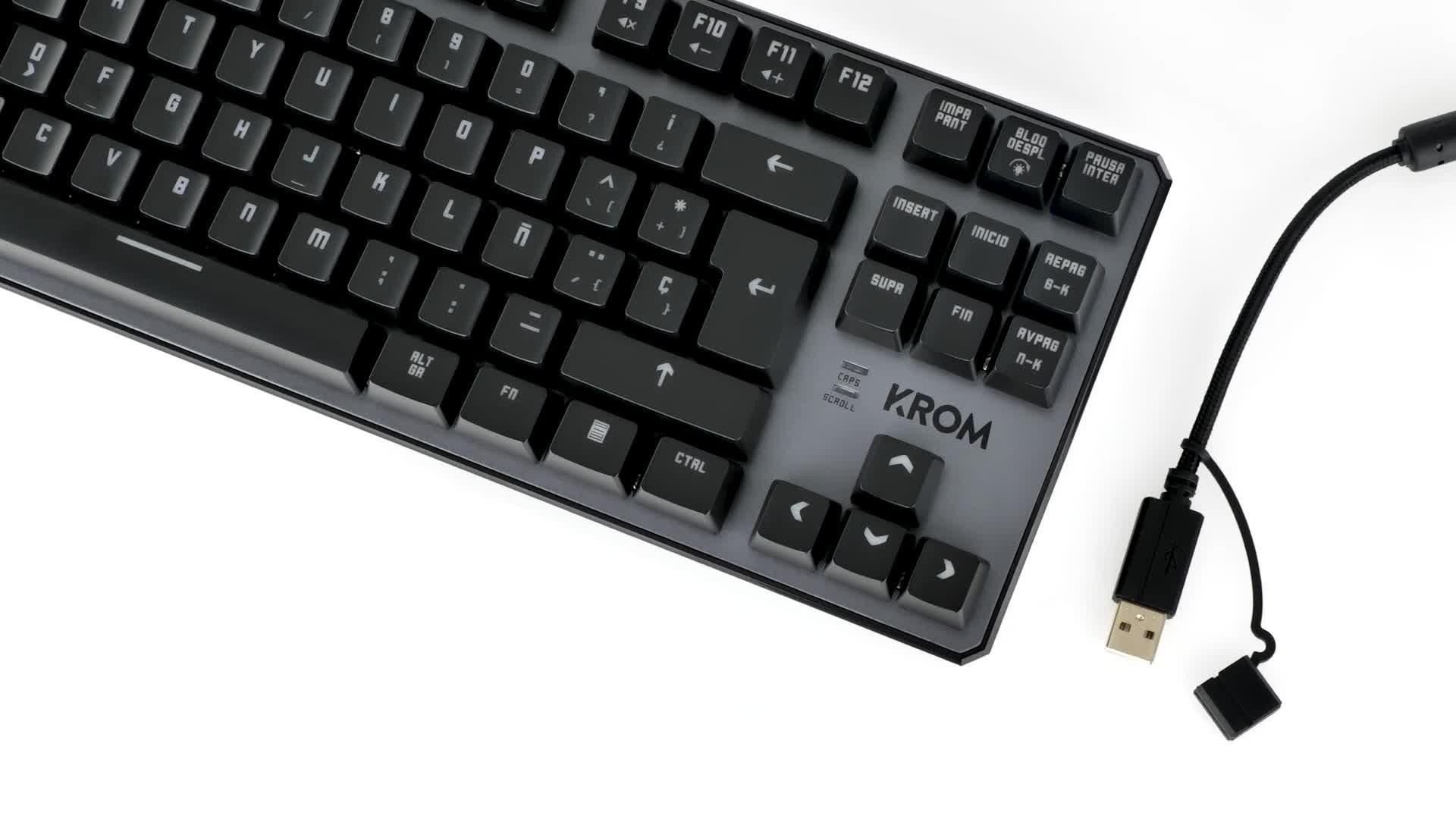 Krom Teclado Gaming Kernel TKL -NXKROMKRNLTKL - Teclado Mecanico, sin Teclado numerico, iluminacion LED RGB, silencioso, Layout Español