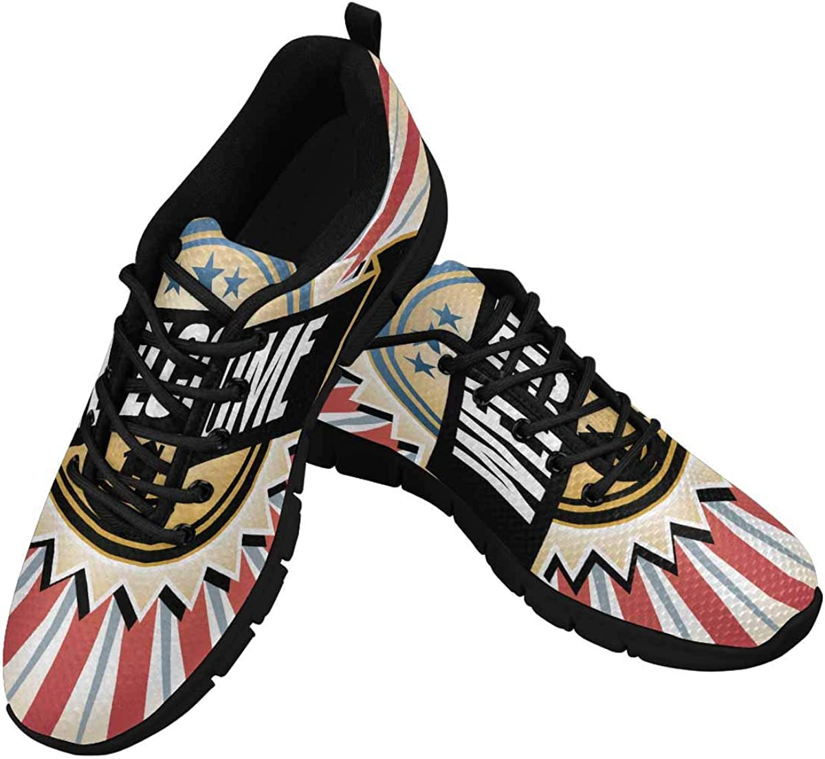 InterestPrint Welcome Home Vintage Pattern Lightweight Mesh Breathable Sneakers for Women