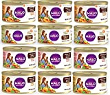 Halo Spot's Stew Grain-Free Canned Cat Food Variety Pack - Lamb, Chicken, Salmon and Turkey Recipe 3 oz (12 Pack - 3 of Each Flavor)