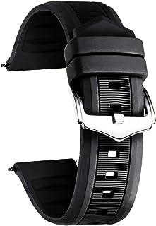 BINLUN Bracelet de Montre en Silicone Sport Remplacement Bracelet en Caoutchouc Homme/Femme(Blanc/Rouge/Noir/Bleu/Orange/V...