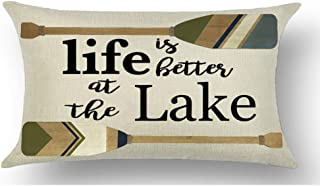 WePurchase Black Word Art Life is Better at The Lake Quote Brown Paddle Summer Decoration Cotton Linen Decorative Home Sofa Living Room Throw Pillow Case Cushion Cover Rectangle 12x20 Inches