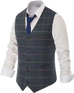 PAUL JONES Men's British Herringbone Tweed Vest Premium Wool Waistcoat - blue - XXXL
