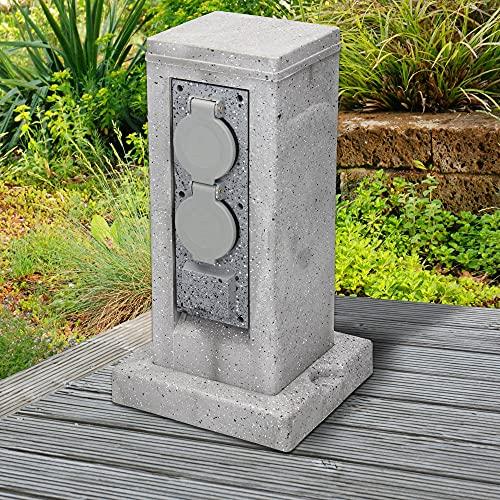 ML-Design Gartensteckdose Steckdosensäule 4-fach mit Erdspieß, Kabel 1,5m, Hellgrau in Granitoptik, IP44 Wetterfest, Spritzwassergeschützt, Außensteckdose Outdoor Mehrfachsteckdose Steckdose
