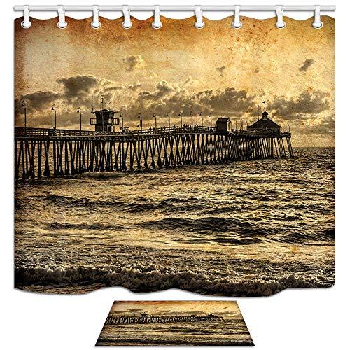 Juego de Cortinas de Ducha Ocean, California Sunset at The Pier in...