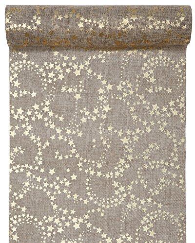 3 Meter Jute Tischläufer Weihnachten Sterne in Hellbraun/Gold, 28 cm