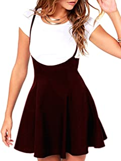 Defal Women's Suspender Braces Casual Skirt Dress Basic High Waist Versatile Flare Skater Shoulder Straps Short Skirt