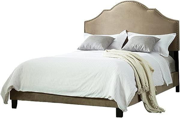 长街灰褐色软垫钉头框架床可调三高度调节床头板