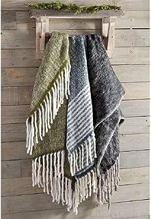 Mud Pie Fall Wool Blend Fringe Throw Blanket (Blue)