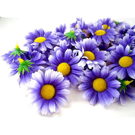 2 inch Gerber Daisy Jeweled Small Silk Flowers---Lavender---Set of 2