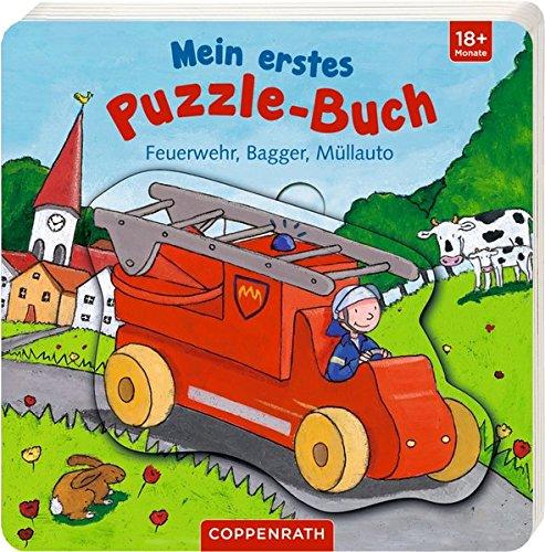 Mein erstes Puzzle-Buch: Feuerwehr, Bagger, Müllauto