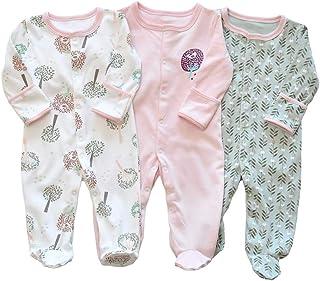 Bebé Niños Niñas Mono Mameluco de Manga Larga Body Algodón Peleles Comodo Pijama Regalo de Recien Nacido, Pack de 3, 0/3 M...