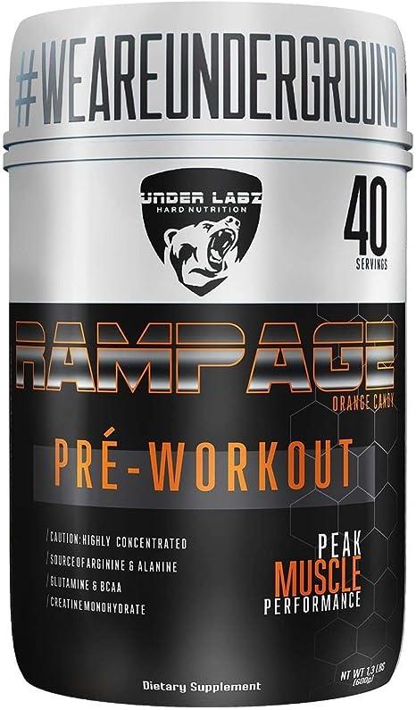 Rampage Pre - Workout - 300G Orange Candy - Under Labz