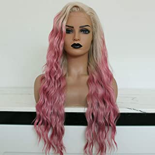 BestMio Natural Wavy Synthetic Lace Front Wigs Fashion Hair Water Wave Synthetic Hair Wigs Half Hand Tied Ombre Pink Hair