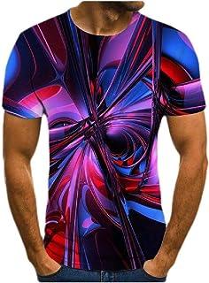 MogogN Men's Digital Print Summer Round Neck Short Sleeve Cotton Shirt