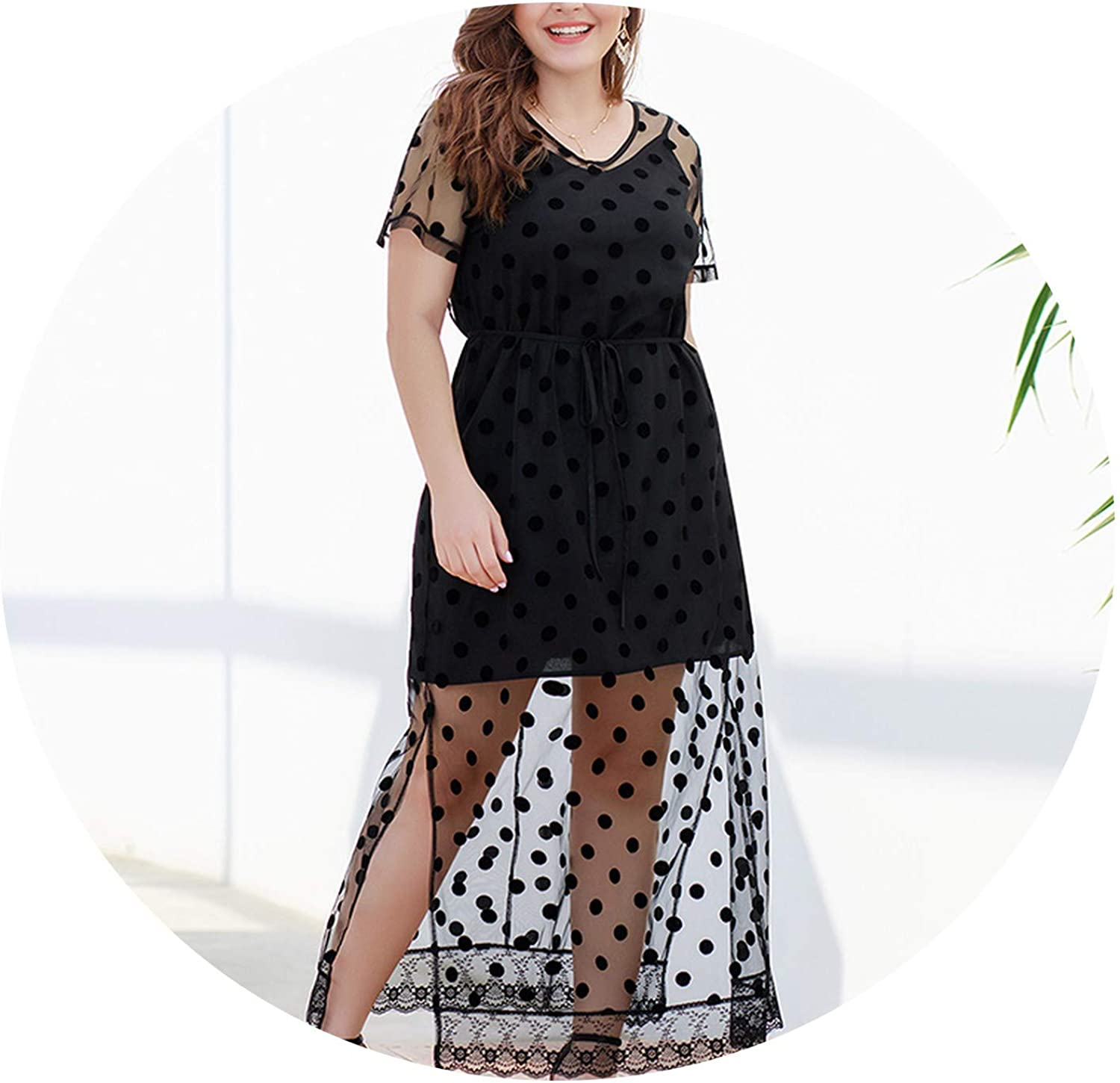 Rather be 2019 Summer Ladies Plus Size Maxi Polka dot Dress Fashion Ladies Large Size Fake Two Pieces Long Dresses