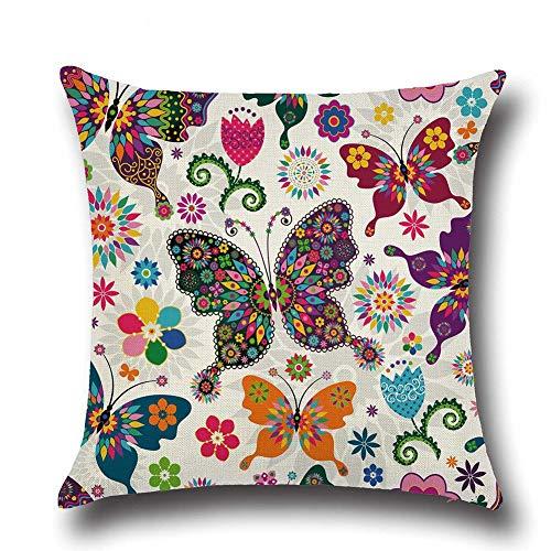 Fliyeong - Funda de cojín con diseño de mariposas y flores para sofá, coche, decoración del hogar, tamaño 3, elegante y popular
