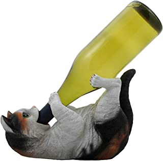 Drinking Calico Kitty Cat Wine Bottle Holder Sculpture for Decorative Tabletop Wine Stands and Racks or Pet Statues and Kitten Figurines As Christmas Gifts for Cat Owners