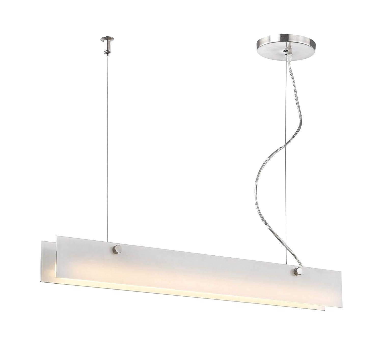 エルク照明lc4020?–?10?–?98アイリス10?W LED Linearサスペンションペンダントとつや消しホワイトガラス、アルミニウム