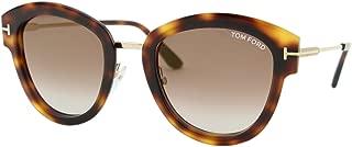 2018 Tom Ford MIA-02 FT0574 52G Women Tortoise Brown T-Logo Rounded Sunglasses