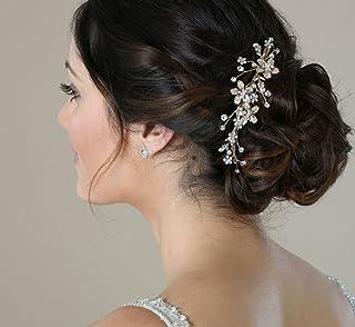 SWEETV Wedding Hair Comb Silver - Pearl Flower Bridal Clip Rhinestone Hair Accessories for Bride, Women