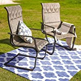 PatioFestival Patio Spring Chair,Outdoor Porch Sling Dinning Chair Furniture Set of 2 with Arms,Grey