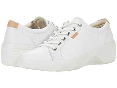 ECCO Soft 7 Wedge Classic Sneaker (White Cow Leather) Women