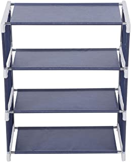 Shoes Rack 4 Layers Upright Standing Stainless Steel Organizer Holder Shelf Household Tool Home Door Entryway Decor(Navy)