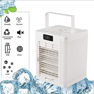 Ventilador Aire Acondicionado USB,Enfriador De Aire Personal Humidificador Y Purificador,con Mango 7 Luces LED 3 Velocidades,Silencioso,Iones Negativos,para Hogar Oficina Acampada
