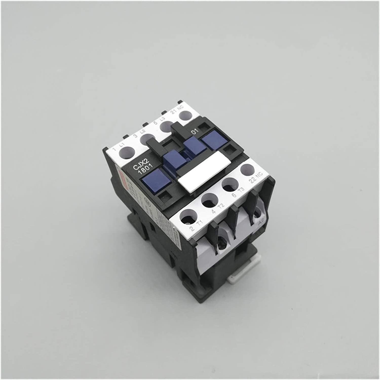Contactor,Contactor De Ca del Hogar Contactor de AC 18A 3 Fases 3 Poste NC Bobina Voltaje 380V 220V 110V 36V 24V 50 / 60Hz Riel DIN montado 3P + 1NC Contactor De Ca (Color : AC 380V)