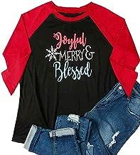 ALLTB Plus Size Joyful Merry Blessed Christmas Snowflakes Baseball T-Shirt Women Raglan 3/4 Sleeve Holiday Shirt Tops