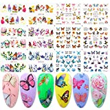 Butterfly Nail Art Stickers 12 Designs Butterflies Flowers Full Cover Water Transfer Nail Decals Polish Slider Manicure Decorations Foil Nails Beauty Decal DIY Butterfly Nail Art Nail Tip Wrap Charms