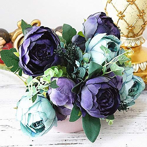 MEITAO Kunstbloemenboeket met pioenrozen, kunstzijde, voor de decoratie van hotel, bruiloft, om zelf te maken op de kroon C.