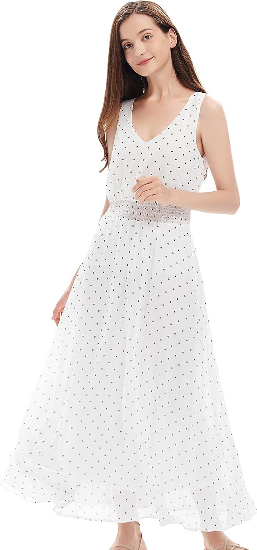 SYJ Women's Chiffon V-Neck Sleeveless Casual Cocktail Maxi Dress