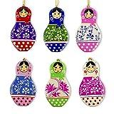 BestPysanky 6 Matryoshka Russian Nesting Dolls Wooden Christmas Ornaments